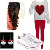 jeans,chuck taylor all stars,pokemon,curly hair,cross,heart,red and white,earrings,jewels