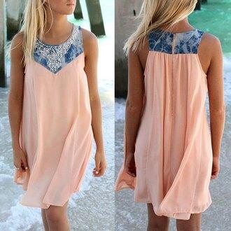 dress shift dress peach peach dress blue