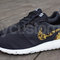 Nike roshe run black white marble metallic gold floral supreme print custom