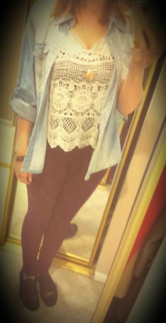 denim jacket lace shirt