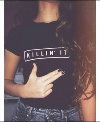 shirt t-shirt print black crop tops women