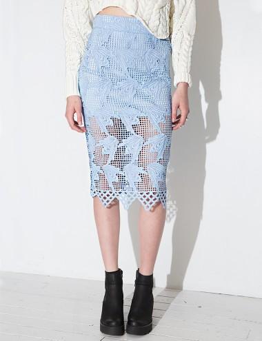 powder blue lace midi skirt pastel pencil skirt