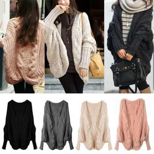 Women Lady Knitted Cardigan Batwing Outwear Casual Loose Sweater Coat Wool Tops | eBay