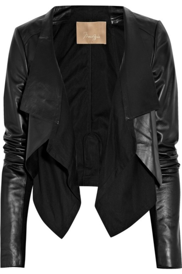Black Jersey Waterfall Front Biker Jacket