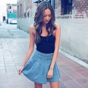 skirt,tennis skirt,chambray,fall outfits,high waisted,fashion,cute,trendy,streetstyle,black top,asian
