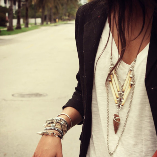 jewels arrow necklace aztec style necklace jewelry aztec tribal pattern collar bracelets silver hippie boho bohemian indie tusk fang summer shirt blouse white dress blazer rings and tings silver jewelry bracelets stacked bracelets