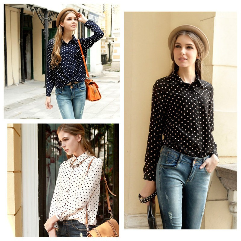 New 2013 Women Ladies Casual Chiffon Shirt Lapel Polka Dot Print Tops Fashion Loose Long Sleeve Blouse Plus size Wholesale on Aliexpress.com