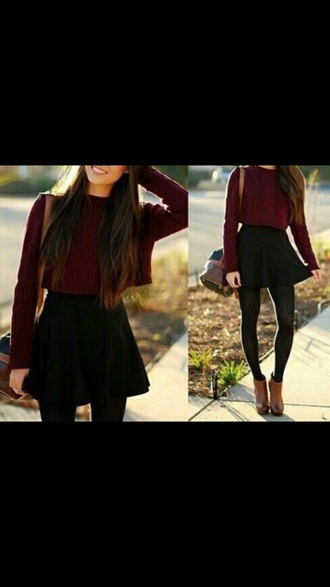 sweater cropped sweater burgundy