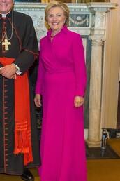 dress,pink,pink dress,hillary clinton,first lady outfits,maxi dress,wrap dress,gown