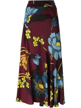 skirt floral skirt high waisted high floral red