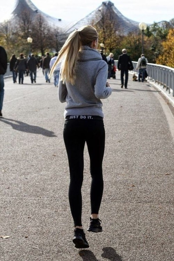 3f4b1bc1a8de7 ... Leggings nike, just do it, black, sportswear, sporty, compression,  shoes Nike Leg-A-See ...