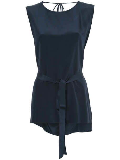 Kacey Devlin top back women blue silk