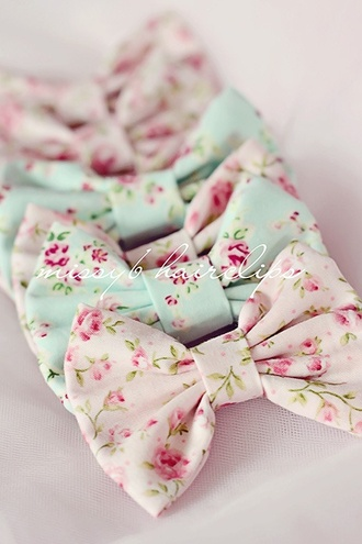 hair accessory bow pastel blue pink green flowers roses feminin floral