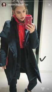 coat,barbara palvin,black