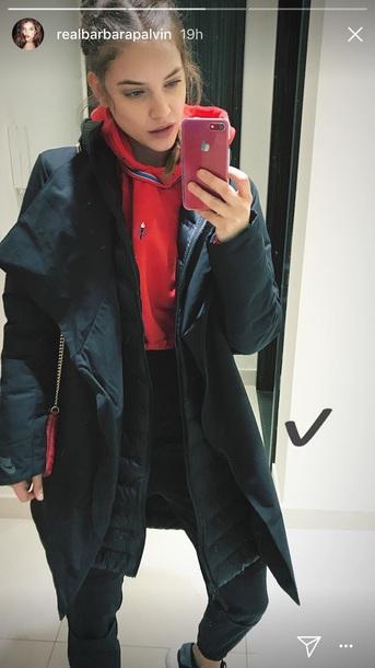 coat barbara palvin black