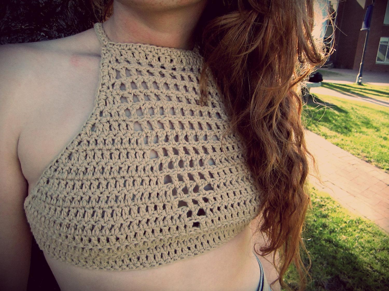 High v neck crochet crop top