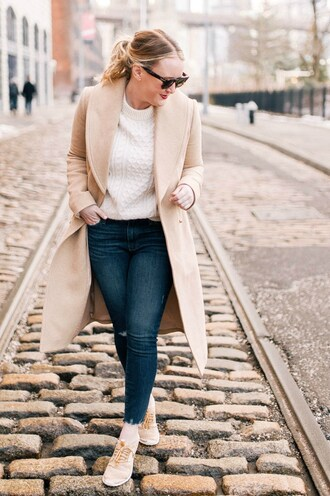 wit&whimsy blogger sweater coat jeans shoes bag cardigan tank top nude coat sneakers white sweater skinny jeans winter outfits