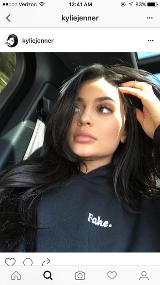 sweater kylie jenner hoodie black hoodie shirt kardashians black make-up lipstick celebrity style fall outfits fall sweater hairstyles hair celebrity jumper cotton style scrapbook