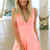 Orange Jump Suits/Rompers - Neon Orange Playsuit with V-Neck | UsTrendy