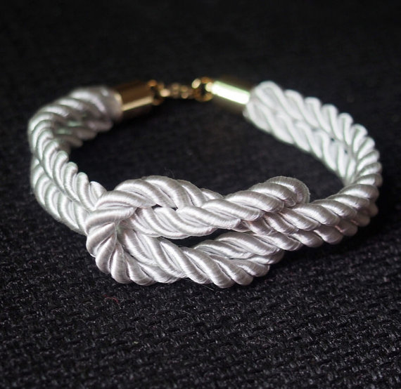 White bridesmaid rope knot bracelet pure by infinitybraceletlove
