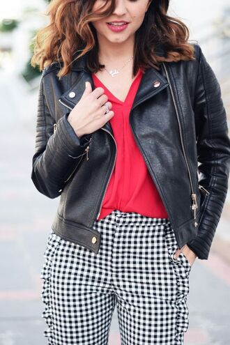 pants blouse red blouse tumblr gingham printed pants ruffle red top jacket black jacket black leather jacket leather jacket spring outfits necklace silver necklace jewels silver jewelry jewelry