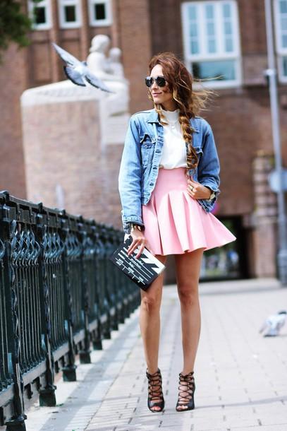 preppy fashionist sunglasses blouse jacket skirt shoes bag jewels