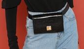bag,girly,girl,girly wishlist,black,leather,fanny pack