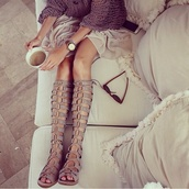 shoes,sandals,taupe sandals,knee high gladiator sandals,taupe,heels,lace up boots,suede boots