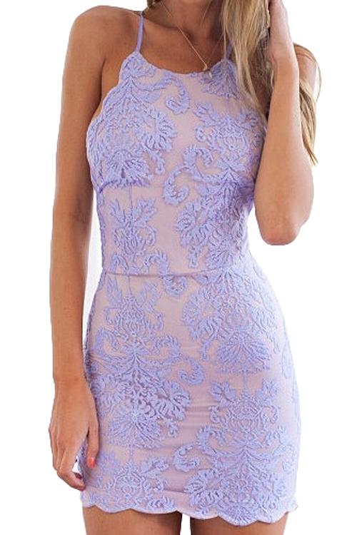 46d0913ce1ed Lace Embroidery Spaghetti Straps Dress LIGHT PURPLE  Bodycon ...