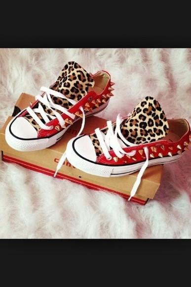 shoes stud converse leopard print