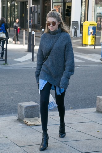 sweater model knitwear oversized sweater gigi hadid oversized turtleneck sweater grey sweater turtleneck sweater fall outfits black boots gigi hadid leggings winter sweater fall sweater booties