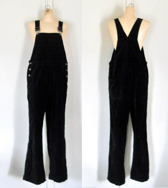 Women Overalls Black Overalls Large Overalls by TheVilleVintage