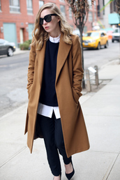 coat,shirt,sweater,pants,bag,shoes,sunglasses,where do i find this brown coat,beige,brown,brown coat,classy,chic