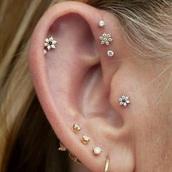 jewels,helix piercing,triple forward helix,piercing,earrings,floral