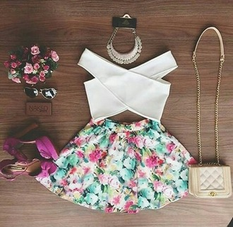 bag girly blouse skirt floral cute green mint pink