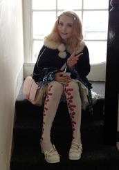 pants,kawaii,lolita,cute,coat,winter coat,poncho,fluffy,warm,furry coat,strawberry,venusangelic,bows,pink bag,pink purse,light pink purse,bag,jewels,shoes