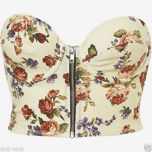 TOPSHOP Cream Floral Rose Bandeau Bralet Cropped Corset Bra Sun Top 10 8 12 34B | eBay