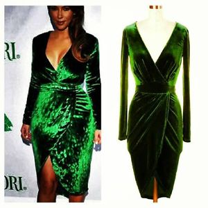 Beautiful Kim Kardashian Dress Green Velvet Great for Christmas Medium | eBay