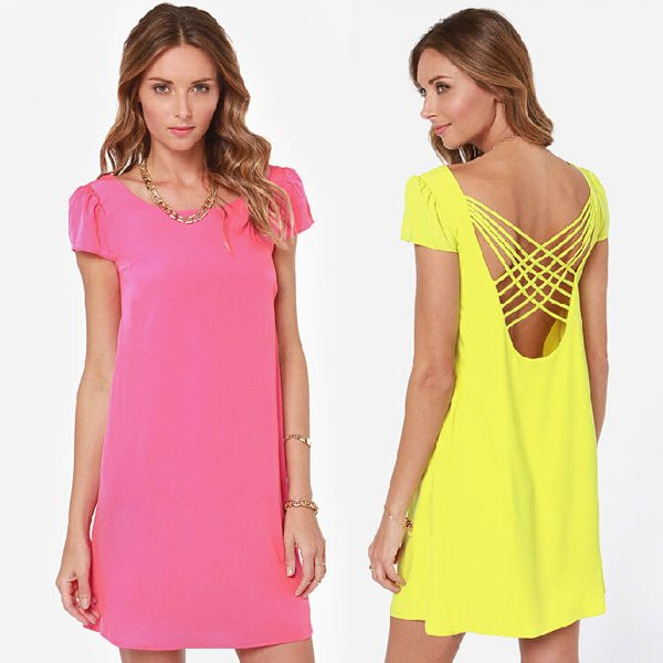 Plus Size XXXL New Summer Dress 2014 Women Casual Dress Sexy Dress Backless Lace Up Cute Mini Short Sleeve Chiffon Party Dresses-in Apparel & Accessories on Aliexpress.com