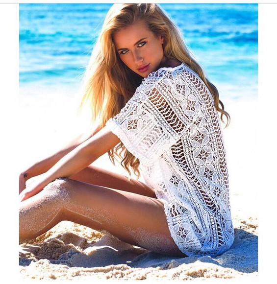 blouse top crochet top white shorts beach