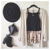 cardigan,hat,shirt,shoes,shorts,cream white knit cardigan,top,black,laces