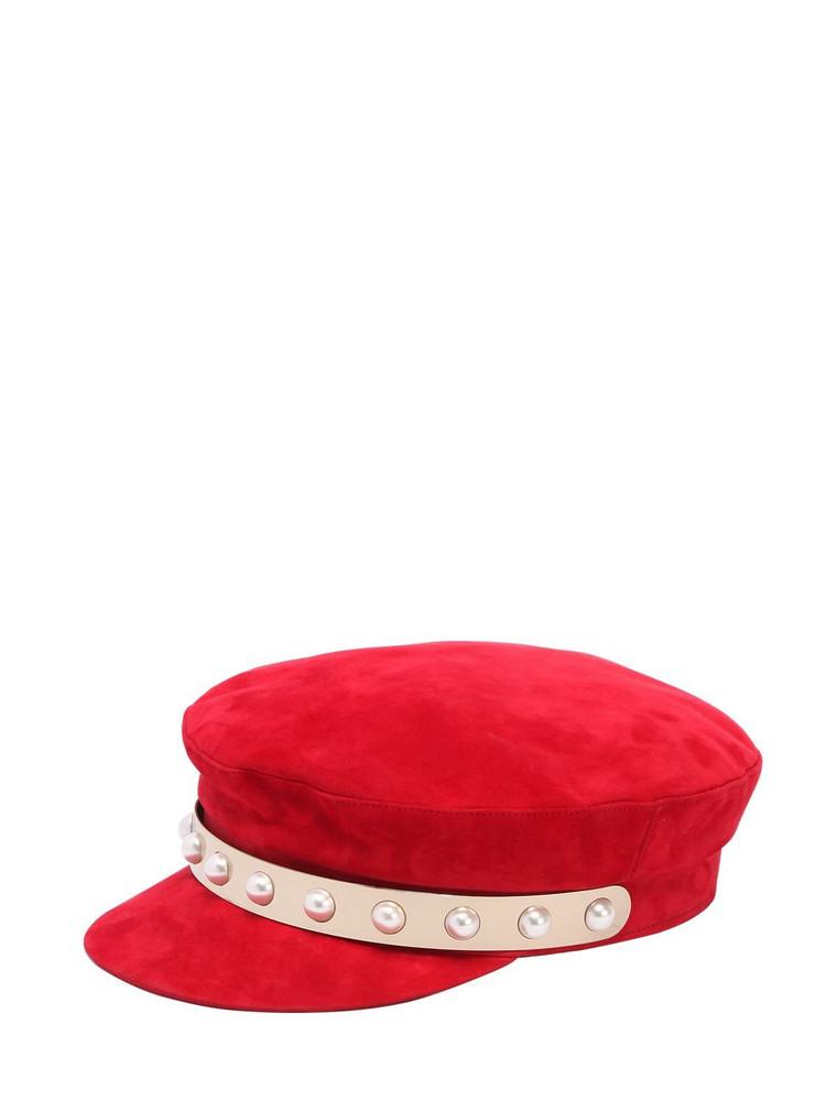 COLIAC Jaran Embellished Suede Hat in red