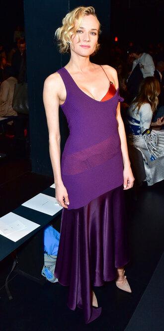 dress purple purple dress fashion week 2017 ny fashion week 2017 diane kruger pumps bra nyfw 2017
