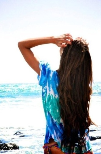 swimwear summer outfits brown hair long hair beach ocean t-shirt sexy hair sexy babe babe tie dye beachy waves tie dye tie dye tyed dye long hair don't care beach shirt ocean blue tanned girl water color swim wear top