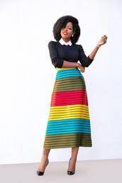 blogger,top,t-shirt,skirt,shoes,midi skirt,multicolor skirt,spring outfits