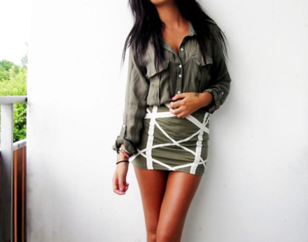blouse mini skirt skirt