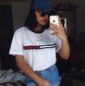 tommy hilfiger,tommy hilfiger shirt,navy,top,shirt,urban,swag,dope,t-shirt,vintage,white t-shirt