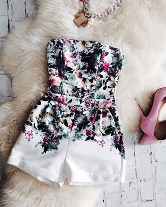 jumpsuit white floral cute girl summer strapless white jumpsuit