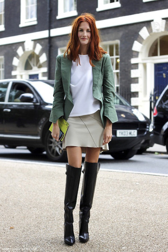 le fashion blogger jacket thigh high boots leather skirt white top