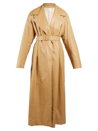 coat long coat oversized long leather tan